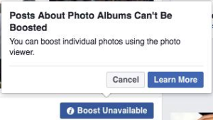 Facebook Photo Album Boosting Error