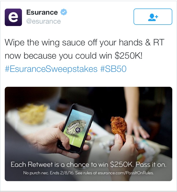 Esurance Sweepstakes twitter social media campaign