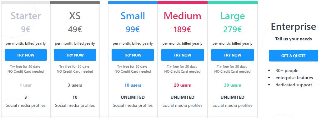 Kontentino vs. Hootsuite - Kontentino pricing starts at 9 eur