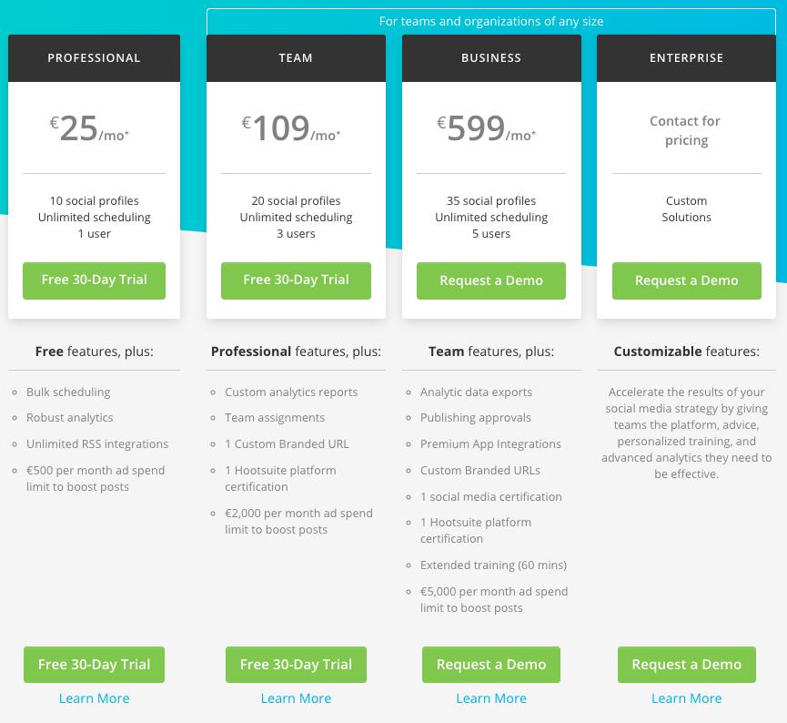 Hootsuite plans pricing