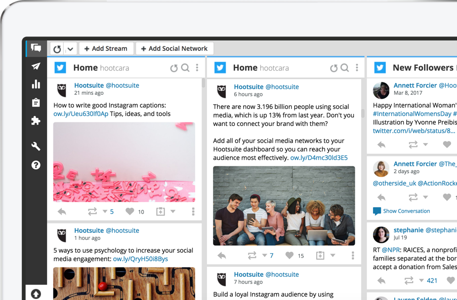 Streams on Hootsuite's dashboard