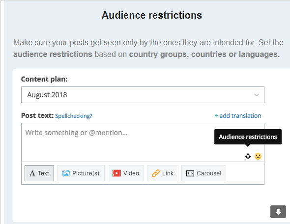 LinkedIn post scheduling tool - audience restrictions