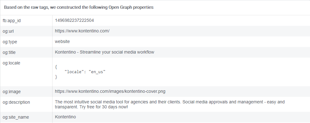 Selected Open Graph Properties in the Facebook Link Debugger