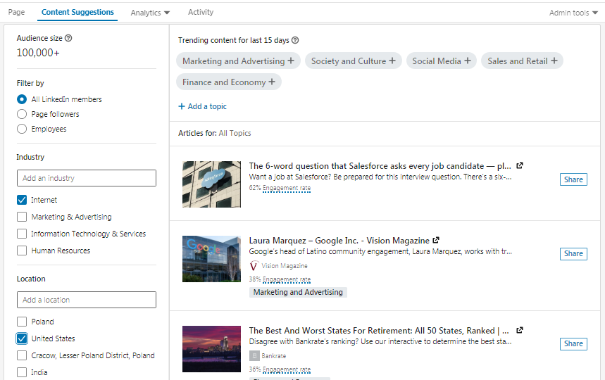 LinkedIn suggests content for business profiles
