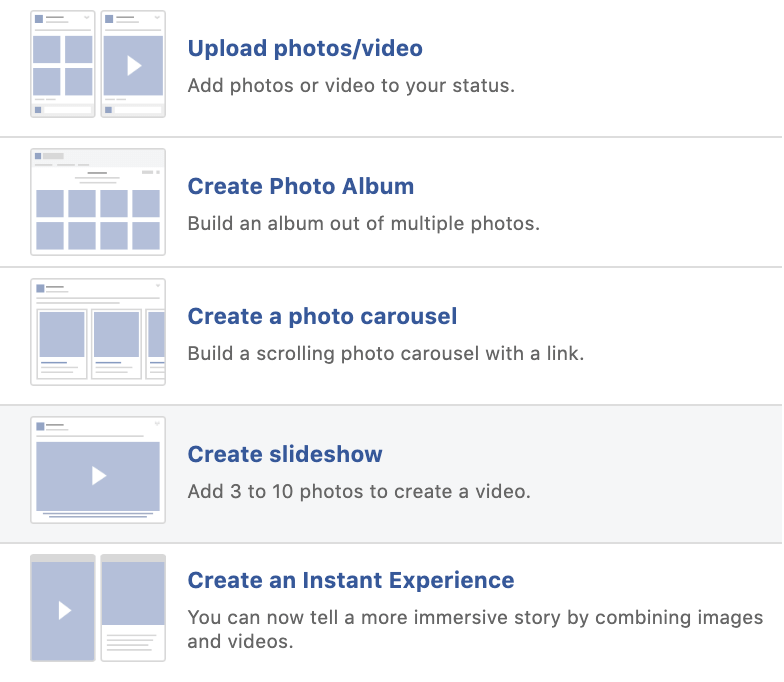Facebook tricks for slideshows in feed