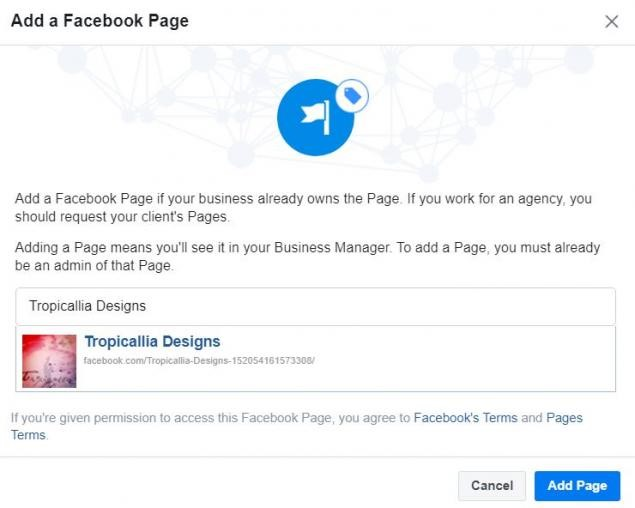 Adding a FB page to the Business Manager