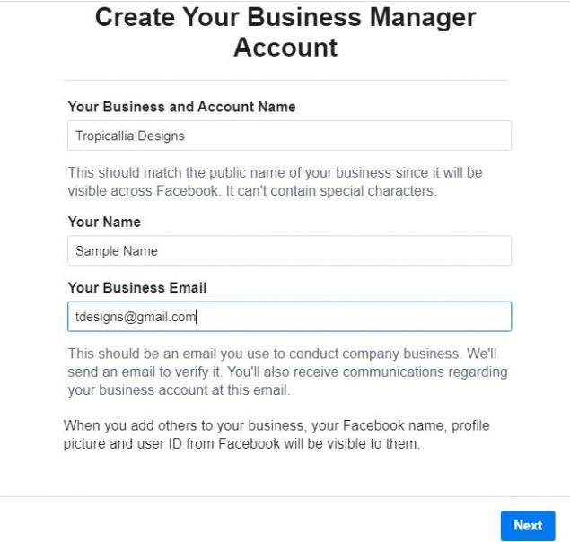 Creating Facebook Business Manager account