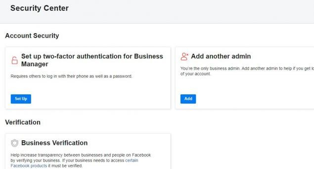 Managing security in Facebook Business Manager