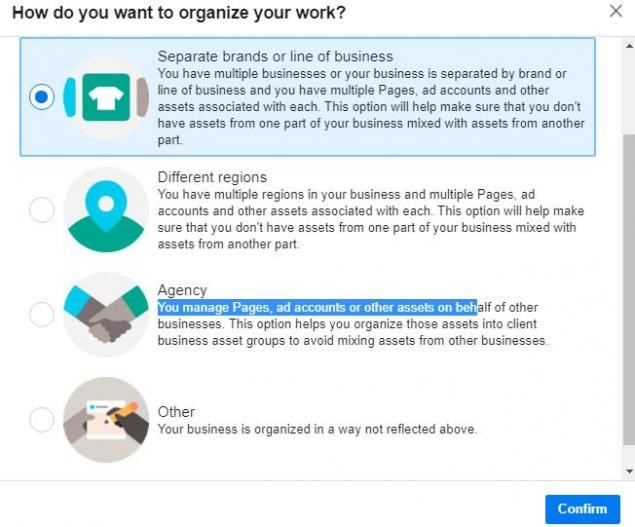 Organizing assets in Facebook Business Manager