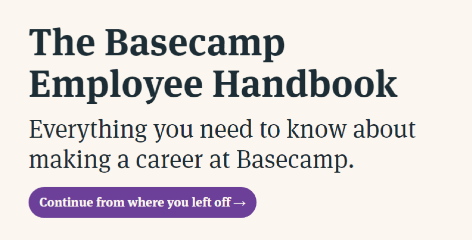 Creating company culture Basecamp example