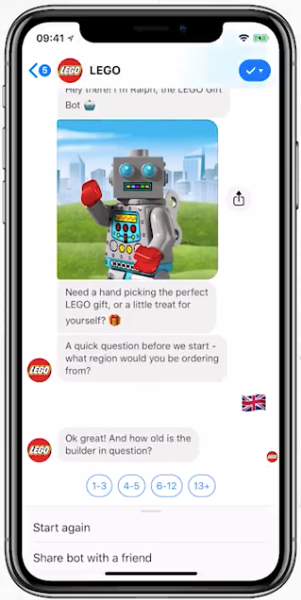 LEGO Messenger chatbot