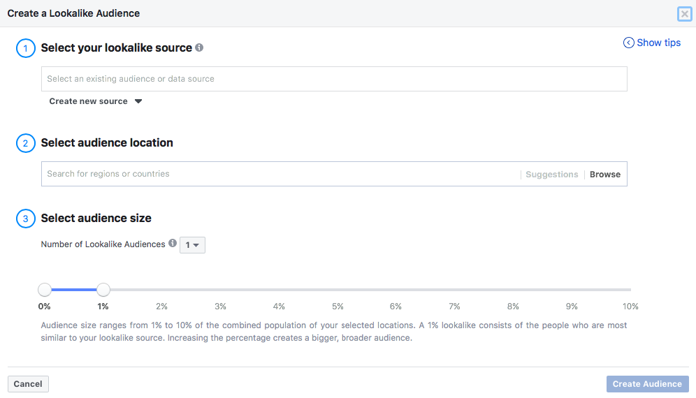 Creating a lookalike audience on Facebook