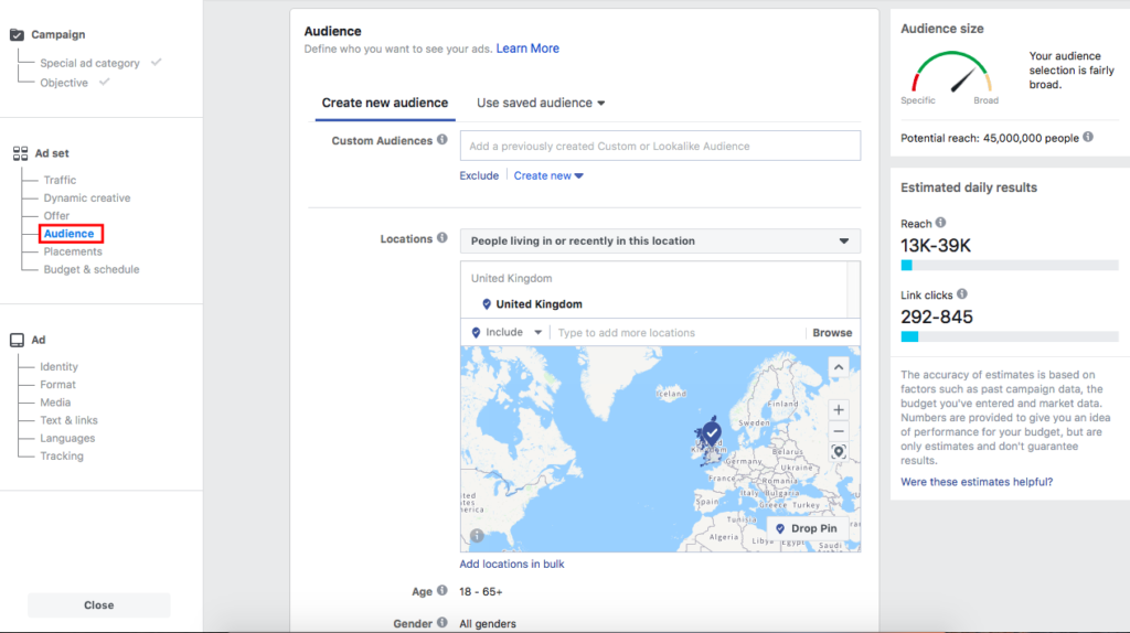 Facebook audience creation preview
