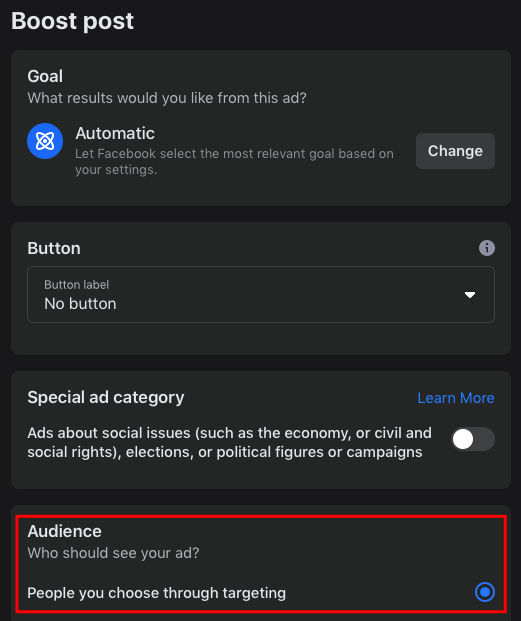creating Facebook audiences when boosting a social media post