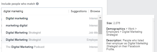 Choosing interests in Facebook Ads Manager