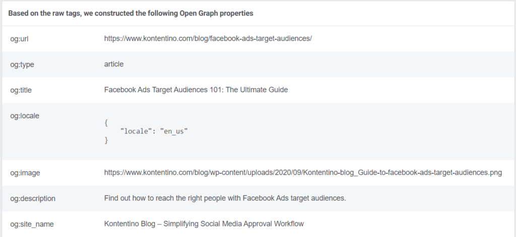 Open Graph meta tags in Facebook's Link Sharing Debugger