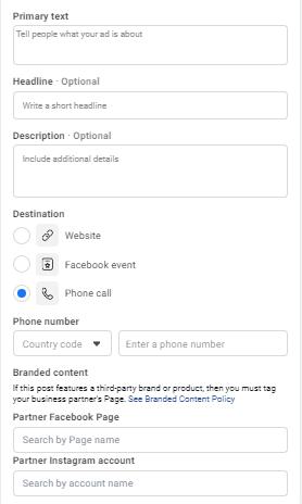 Facebook Ad Copy details