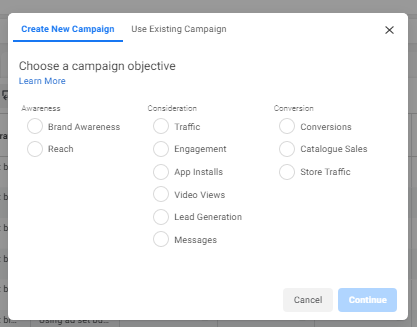 Choosing the right Facebook objective
