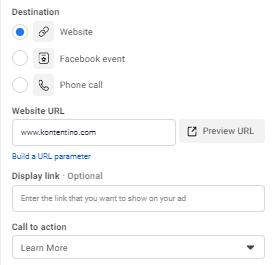 Facebook Ad destination pick